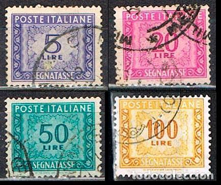 ITALIA, SELLO DE TASA, LOTE DE 4 SELLOS DE LA EMISIÓN DE 1.947-54, USADO (Sellos - Extranjero - Europa - Italia)