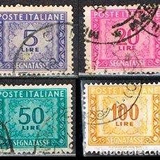 Sellos: ITALIA, SELLO DE TASA, LOTE DE 4 SELLOS DE LA EMISIÓN DE 1.947-54, USADO. Lote 236623495