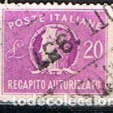Sellos: ITALIA, URGENTE IVERT Nº 37, ALEGORIA DE ITALIA, USADO. Lote 236625285