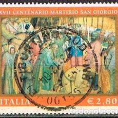 Sellos: ITALIA Nº 2962, 1700 ANIVERSARIO DEL MARTIRIO DE SAN JORGE, USADO. SELLO EN EUROS. Lote 237352010