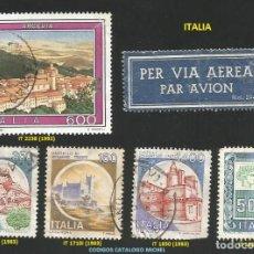 Sellos: ITALIA - VARIOS AÑOS Y CODIGOS - (VER IMAGEN) - 5 SELLOS USADOS Y 1 ETIQUETA. Lote 242375510