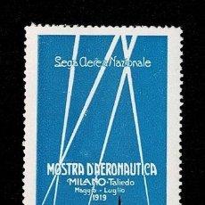 Sellos: CL8-7 VIÑETA ITALIA - LEGA AEREA NAZIONALE MOSTRA D'AERONAUTICA - MILANO - TALIEDO MAGGIO - LUGLIO 1. Lote 243980260