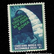 Sellos: CL8-7 VIÑETA ROMA - CHICAGO - NEW YORK - ROMA CROCIERA AEREA DEL DECENNALE 1933 XI SIN FIJASELLOS. Lote 243981415