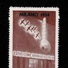 Sellos: CL8-7 VIÑETA MILANO 1934 ESPOSIZIONE AERONAUTICA ITALIANA FIJASELLOS. Lote 243981625