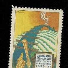 Sellos: CL8-7 VIÑETA DE LA CROCIERA AEREA DEL DECENNALE ROMA-CHICAGO-NEW YORK-ROMA 1933 - XI CON FIJASELLOS. Lote 243982155