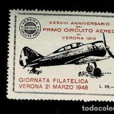 Sellos: CL8-7 VIÑETA XXXVIII ANNIVERSARIO DEL PRIMO CIRCUITO AEREO DI VERONA 1910 GIORNATA FILATELICA VERONA. Lote 243982305