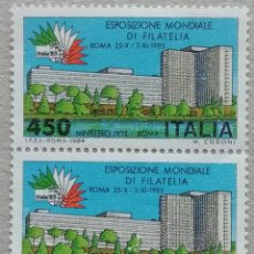 Sellos: 1984. ITALIA. 1615. EXPO FILATÉLICA MUNDIAL EN ROMA. SELLOS EN PAREJA. SERIE COMPLETA. USADO.. Lote 245002960