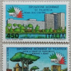 Sellos: 1984. ITALIA. 1615 / 1616. EXPO. FILATÉLICA MUNDIAL EN ROMA. SERIE COMPLETA. USADO.. Lote 245004965