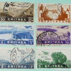 Sellos: ITALIA SELLOS POSTALES AEREOS DE ERITREA 1934 SERIE PICTÓRICA. Lote 248812710