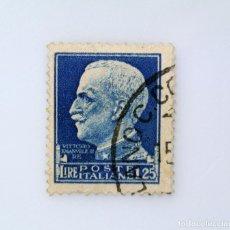Sellos: SELLO POSTAL ITALIA 1929, 1.25 LIRE, EFIGIE DEL REY VITTORIO EMANUELE III A LA IZQUIERDA, USADO. Lote 249279340