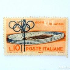 Sellos: SELLO POSTAL ITALIA 1960, 10 LIRA, ESTADIO OLÍMPICO DE ROMA, JUEGOS OLÍMPICOS DE VERANO 1960 - ROMA. Lote 249281455