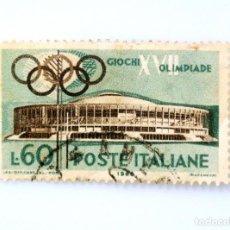 Sellos: SELLO POSTAL ITALIA 1960, 60 LIRA, PABELLÓN DE DEPORTES, JUEGOS OLÍMPICOS DE VERANO 1960 - ROMA. Lote 249282160
