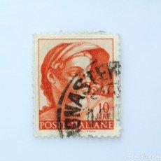 "Sellos: SELLO POSTAL ITALIA 1961, 10 LIRA, HEAD OF ""NAKED"" WORKS OF MICHELANGELO,FRESCOS, USADO. Lote 249288215"