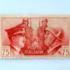 Sellos: SELLO POSTAL ITALIA 1941, 75 CENTS, RETRATOS DE MUSSOLINI Y HITLER, SEGUNDA GUERRA MUNDIAL, USADO. Lote 249290445