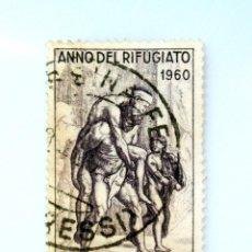 Sellos: SELLO POSTAL ITALIA 1960, 60 LIRA, EL VUELO DE ENEAS, AÑO MUNDIAL DE LOS REFUGIADOS, USADO. Lote 249307300
