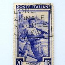 Sellos: SELLO POSTAL ITALIA 1950, 20 LIRA, PESCADOR, VESUBIO (CAMPANIA), OCUPACIONES REGIONALES, USADO. Lote 249308085