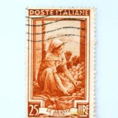 Sellos: SELLO POSTAL ITALIA 1950, 25 LIRA, COSECHA DE NARANJAS, MONTE PELLEGRINO (SICILIA), USADO. Lote 249312635