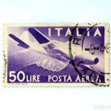 Sellos: SELLO POSTAL ITALIA 1950, 50 LIRA, APRETÓN DE MANOS, AVION CAPRONI CAMPINI 1 , USADO. Lote 249319640