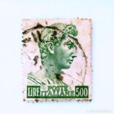 Sellos: SELLO POSTAL ITALIA 1957, 500 LIRA, CABEZA DE LA ESTATUA DE SAN JORGE, PÁG. 13¼, WMK ESTRELLAS I. Lote 249325455