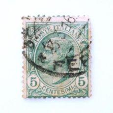 Sellos: SELLO POSTAL ITALIA 1906, 5 CENTS, REY VÍCTOR MANUEL III, TIPO LEONI , USADO. Lote 249326160