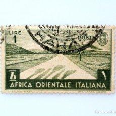 Sellos: SELLO POSTAL AFRICA ORIENTAL ITALIANA 1938, 1 LIRA, MOTIVOS LOCALES, USADO. Lote 249495405
