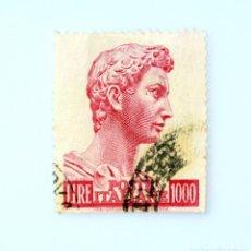 Sellos: SELLO POSTAL ITALIA 1961, 1000 LIRA,CABEZA ESTATUA DE SAN JORGE DONATELLO FALLO DE CORTE PERFORACIÓN. Lote 249581225