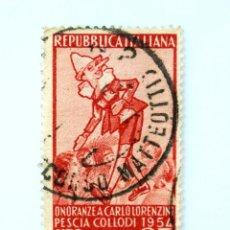 Sellos: SELLO POSTAL ITALIA 1954, 25 LIRA,EL PINOCHO DE ATTILIO MUSSINO ESCRITORES ITALIANOS-CARLO LORENZINI. Lote 250221735