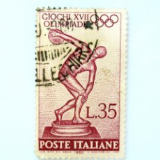 Sellos: SELLO POSTAL ITALIA 1960, 35 LIRA, LANZADOR DE DISCO DE MYRON, JUEGOS OLÍMPICOS DE VERANO 1960 ROMA. Lote 250232330