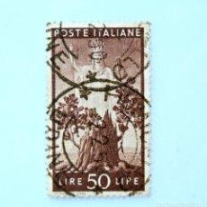 Sellos: SELLO POSTAL ITALIA 1945, 50 LIRA, ÁRBOL EN FLOR E ITALIA , DEMOCRACIA, USADO. Lote 250257295