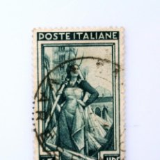 Sellos: SELLO POSTAL ITALIA 1957, 65 LIRA, COSECHADORA DE CÁÑAMO, ABADÍA DE POMPOSA RAREZA MARCA DE AGUA. Lote 251056240