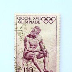 Sellos: SELLO POSTAL ITALIA 1960, 110 LIRA, BOXEADOR ROMANO, JUEGOS OLÍMPICOS DE VERANO 1960 - ROMA. Lote 251058150