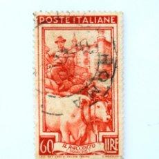 Sellos: SELLO POSTAL ITALIA 1950, 110 LIRA, CONDUCTOR EN LA VENDIMIA PALACIO DUCAL DE URBINO (MARCHE) ,USADO. Lote 251059915