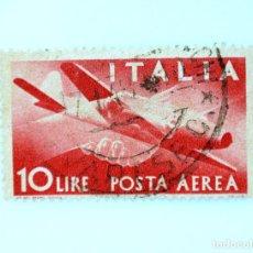 Sellos: SELLO POSTAL ITALIA 1945, 10 LIRA ,HANDSHAKE, AVIÓN CAPRONI-CAMPINI 1, DEMOCRACIA , USADO. Lote 251075605