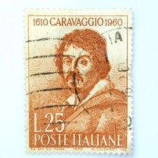 Sellos: SELLO POSTAL ITALIA 1960, 25 LIRA, MICHELANGELO MERISI, CARAVAGGIO , USADO. Lote 251264675