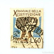 Sellos: SELLO POSTAL ITALIA 1958, 60 LIRA, OAK DECIMO ANIVERSARIO DE LA CONSTITUCION ITALIANA, USADO. Lote 251265310