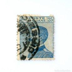 Sellos: SELLO POSTAL ITALIA 1908, 25 CENT,EFIGIE DE VITTORIO EMANUELE III A LA IZQUIERDA, USADO. Lote 251374500