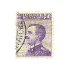 Sellos: SELLO POSTAL ITALIA 1908, 50 CENT,EFIGIE DE VITTORIO EMANUELE III A LA IZQUIERDA, USADO. Lote 251376210