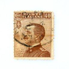 Sellos: SELLO POSTAL ITALIA 1908, 40 CENT,EFIGIE DE VITTORIO EMANUELE III A LA IZQUIERDA, USADO. Lote 251376855