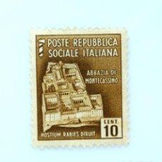 Sellos: SELLO POSTAL ITALIA 1944, 10 CENT, ABADÍA DE MONTE CASSINO, MONUMENTOS DESTRUIDOS, SIN USAR. Lote 251387520