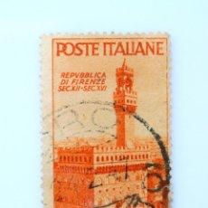 Sellos: SELLO POSTAL ITALIA 1946, 4 LIRA, PALAZZO DELLA SIGNORIA EN FLORENCIA, ADVIENTO DE LA REPÚBLICA. Lote 251541000