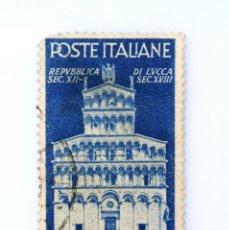 Sellos: SELLO POSTAL ITALIA 1946, 2 LIRA,IGLESIA DE SAN MICHELE EN LUCCA, ADVIENTO DE LA REPÚBLICA EN ITALIA. Lote 251578455