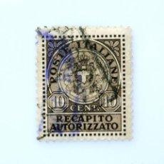 Sellos: SELLO POSTAL ITALIA 1930, 10 CENT, ESCUDO DE ARMAS, ITALIA, ENTREGA AUTORIZADA , USADO. Lote 251583345