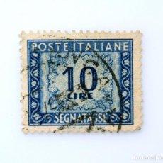 Sellos: SELLO POSTAL ITALIA 1957, 10 LIRA, NÚMERO Y DECORACIONES, FRANQUEO A PAGAR - NUMERAL EN DECORACIONES. Lote 251584590