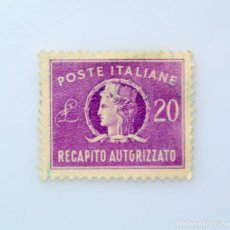 Sellos: SELLO POSTAL ITALIA 1955, 20 LIRA, ITALIA, ENTREGA AUTORIZADA, MARCA DE AGUA STAR I, USADO. Lote 251585240