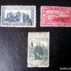 Sellos: ITALIA, 1926, SAN FRANCISCO DE ASÍS, YT 187,189,190. Lote 253769420