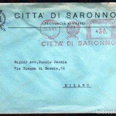 Sellos: GIROEXLIBRIS.- ITALIA SOBRE CIRCULADO CON MATASELLOS MECÁNICOS METER STAMPS CITTA' DI SARONNO. Lote 254699105