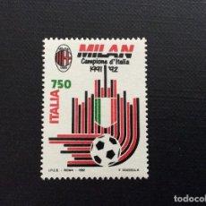 Sellos: ITALIA Nº YVERT 1949** AÑO 1992. FUTBOL. MILAN, CAMPEON DE ITALIA. SERIE CON CHARNELA. Lote 257553175
