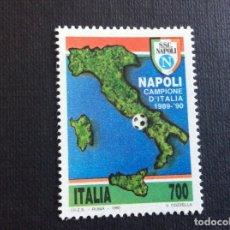 Sellos: ITALIA Nº YVERT 1881** AÑO 1990. FUTBOL. NAPOLES, CAMPEON DE ITALIA. SERIE CON CHARNELA. Lote 257553280