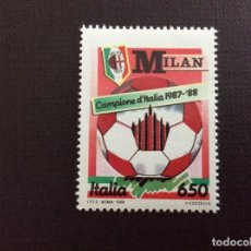 Sellos: ITALIA Nº YVERT 1783** AÑO 1988. FUTBOL. MILAN, CAMPEON DE ITALIA. SERIE CON CHARNELA. Lote 257553410