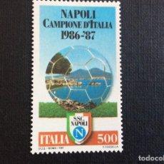Sellos: ITALIA Nº YVERT 1748** AÑO 1987. FUTBOL. NAPOLES, CAMPEON DE ITALIA. SERIE CON CHARNELA. Lote 257553520